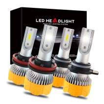 MOREFULLS H11 9005 LED Headlight Bulbs Combo Pack 6500K Xenon White HB3/9005 H9/H11 Headlight Conversion Kit for High Beam and Low Beam
