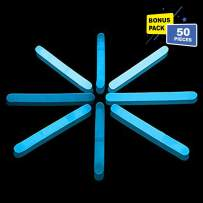 Lumistick 1.5 Inch Fishing Glow Sticks | Bright Color Snap Lights Glowsticks | Neon Mini Light for Swimming | Glow in The Dark Camping Night Party Favor Supplies (Blue, 50 Glow Sticks)