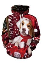Cutiefox Womens 3D Digital Print Pullover Drawstring Hoodie Christmas Sweater Sweatshirt