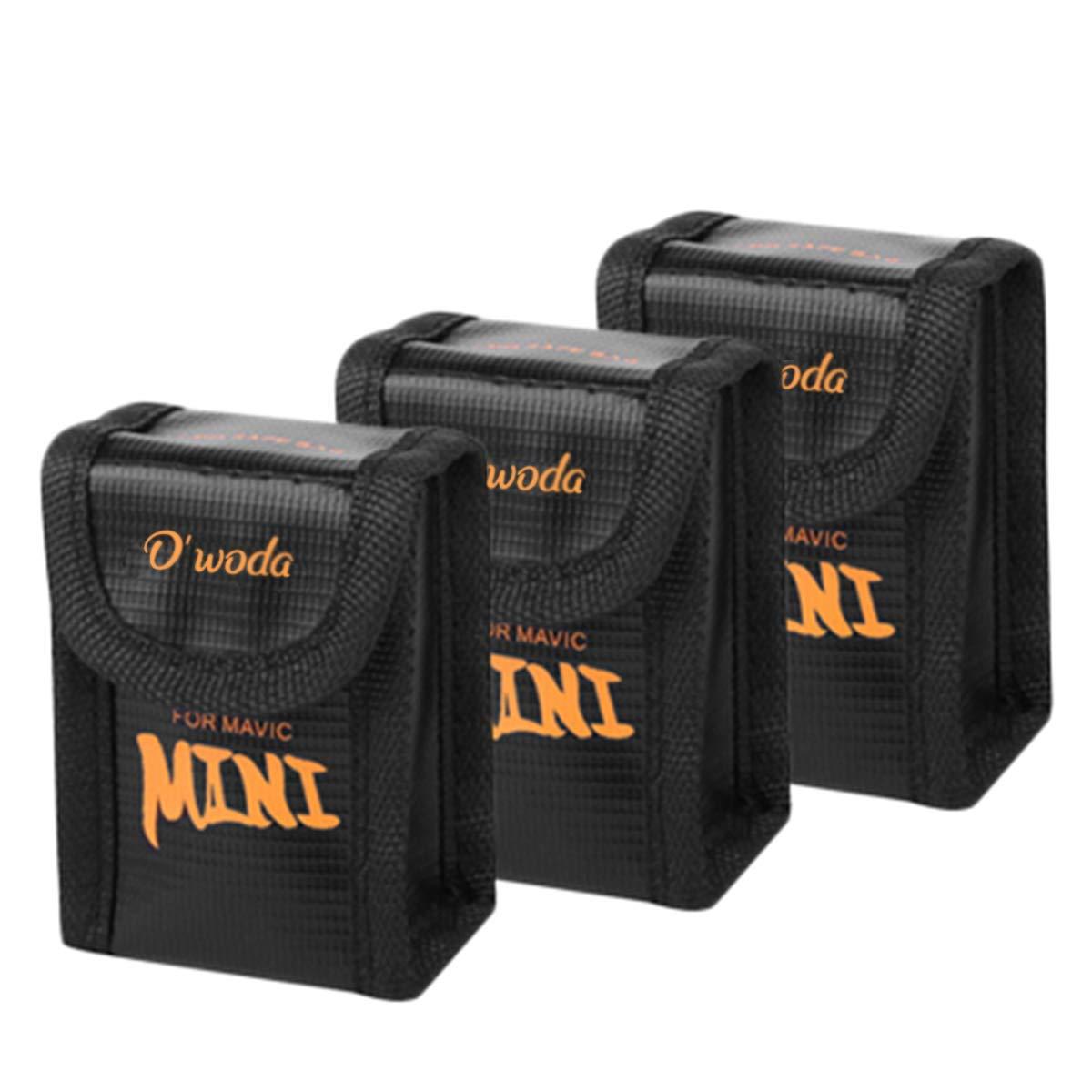 O'woda Lipo Battery Safe Bag Fireproof Explosion-Proof Batteries Charge Protector Bag for DJI Mavic Mini (Pack of 3)