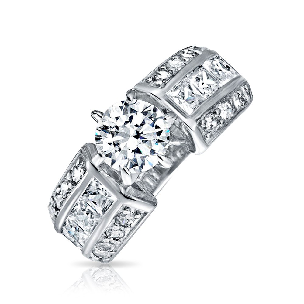 Bling Jewelry Art Deco Style 2CT Round Brilliant Cut AAA CZ Solitaire Engagement Ring for Women Wide 3 Row Pave Band Sterling Silver