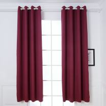 DREAM ART Thermal Insulated Blackout Curtains Darkening Room Curtain Blocks Light Noise Reducing Drapes for Bed Room Nursery Kids Room Window 2 Panels,W52xL63(132cmx160, Burgundy