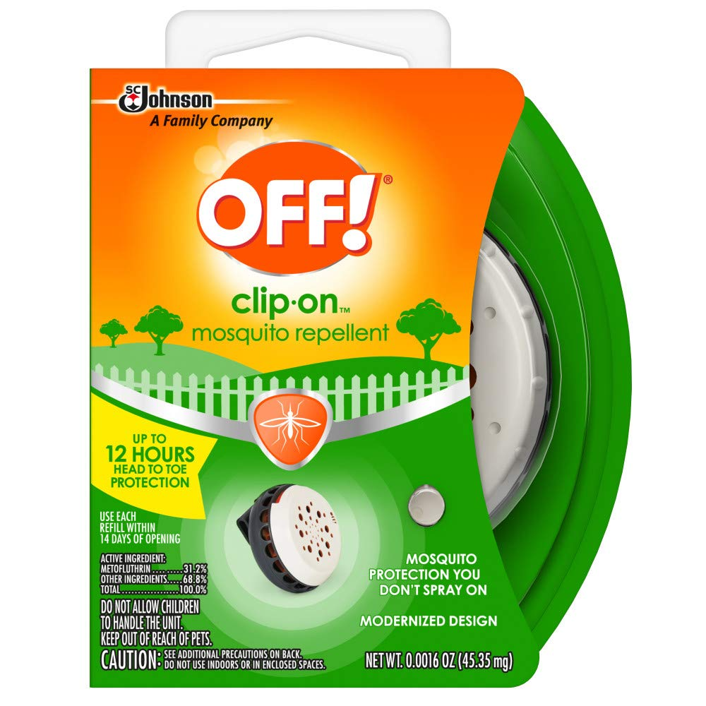 OFF! Clip-On Mosquito Repellent, Clip-On Fan Unit and 1 Repellent Refill, Attaches to Belt, Waistband, or Purse