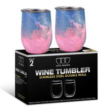 2 Pack Stainless Steel Wine Glass Tumbler with Lid, 12 oz Double Wall Vacuum Insulated Travel Tumbler Cup, Coffee Water Bottle Cup (Blue Sky)