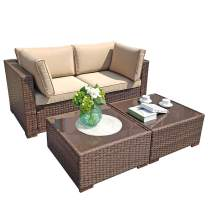 Super Patio Outdoor Patio Furniture, Loveseat 2 Piece Sofa and 2 Piece Tempered Glass Top Coffee Table, Brown PE Rattan Wicker with Beige Cushion for Garden, Yard or Porch
