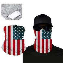 INZENYN Unisex American Flag Multi-Purpose Headwear Scarf Bandanas 5 Pcs With Safety Filter
