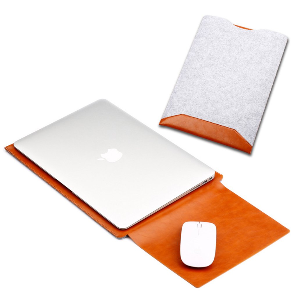 """ELEOPTION Business Style Macbook Case Organizer Leather Case Laptop Cover Double Layer Carrying Case for Mac book (Macbook Air/Macbook Pro&Pro Retina 13,3"""", Z- Brown)"""