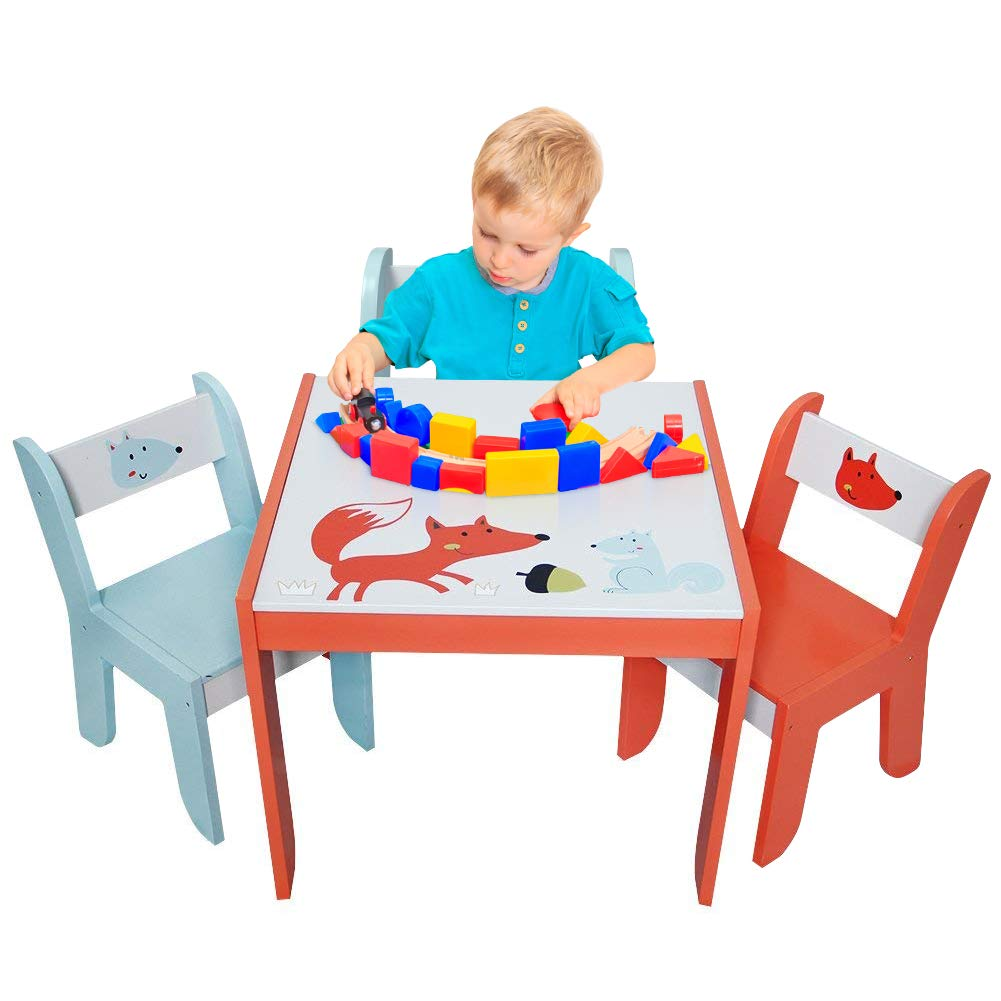 labebe - Wood Table Set for Kids 1-5 Years, Activity Table Chair Set, Study Table and Chair for Children, Baby Wooden Table Set for Drawing, Toddler Game/Drafting Table Chair, Infant Play Desk Table