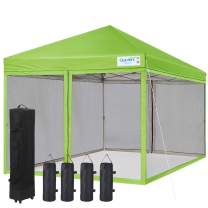 Quictent Upgraded 10X10 Ez Pop up Canopy with Netting Instant Screen House Instant Outdoor Gazebo Canopy, Roller Bag & 4 Sand Bags Included (Green)