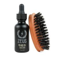 Zeus Beard Oil Natural Conditioner Softener Kit With 100% Boar Bristle Brush, Sandalwood