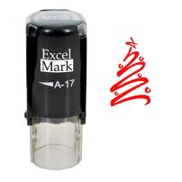 Self-Inking Christmas Rubber Stamp - Tree - Red Ink