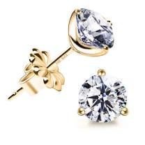 """""""STUNNING FLAME"""" 14K Gold Post & Sterling Silver Round Cut Cubic-Zirconia Stud Earrings 