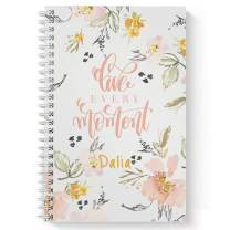 """Live Every Moment Personalized Motivational Notebook/Journal, Laminated Soft Cover, 120 College Ruled pages, lay flat wire-o spiral. Size: 5.5"""" x 8.5"""". Made in the USA"""
