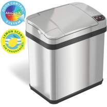 iTouchless 2.5 Gallon Garbage Can with AbsorbX Odor Filter and Fragrance, Touchless Automatic Trash Bin, Perfect for Bathroom and Office, 2 Gal Sensor Stainless Steel