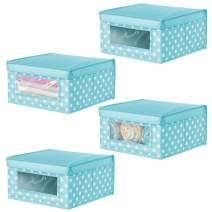 mDesign Soft Stackable Fabric Closet Storage Organizer Holder Box - Clear Window and Lid, for Child/Kids Room, Nursery, Playroom - Polka Dot Print - Medium, 4 Pack - Turquoise Blue with White Dots