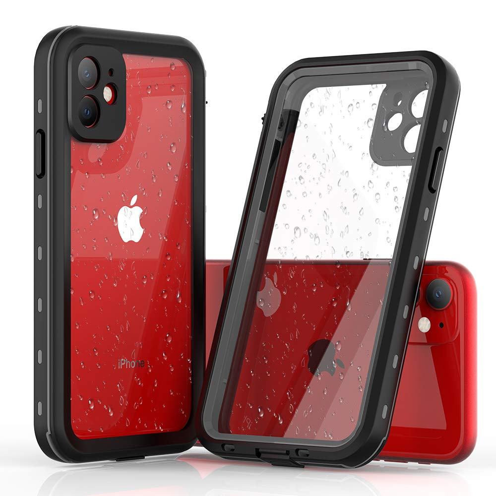 """N N.ORANIE Waterproof Case Compatible for iPhone 11, 360 Full-Body Protective Built-in Screen Protector Anti-Fall Shockproof Dust-Proof IP68 Phone Case Compatible for iPhone 11 6.1""""(Black)"""