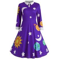 ZEZCLO Women's Solar System Pan Collar Costume Dress 1950s Flared Retro Dresses