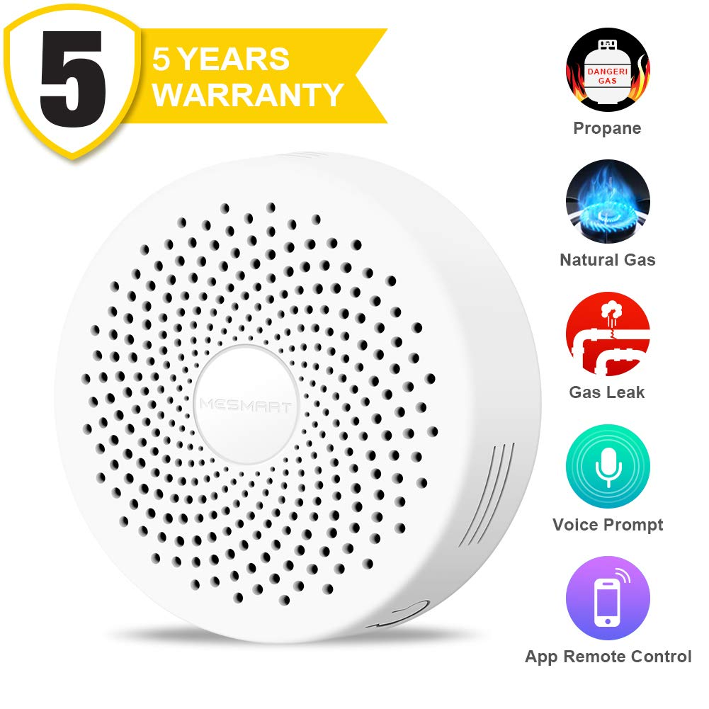 Natural-Gas-Leak-Detector-Alarm, WiFi Smart Plug in for Home Methane/Propane Alert Detectors with Sound Light Voice and Red Light Warning, Portable for Home & Kitchen Security, App Control, MESMART
