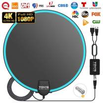 TV Antenna, Amplified HD Digital TV Antenna Long 100 Miles Range, [Upgrade 2020] HDTV Antenna Indoor with Amplifier Signal Booster, Support 4K 1080P Freeview Television Local Channels, 14.5ft Cable
