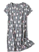 Inadays Sleepwear Women's Nightgown Cotton Sleepshirts Short Sleeve Nightshirt Print Sleep Dress Nightdress