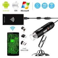 Ksera USB WiFi 2-in-1 Digital Microscope, 2.0 Mini Wireless Microscope Camera 40 to 1000x Magnification Endoscope for Kids, Compatible with iPhones Mac Window 7 8 10 and OTG Supported Android Phones