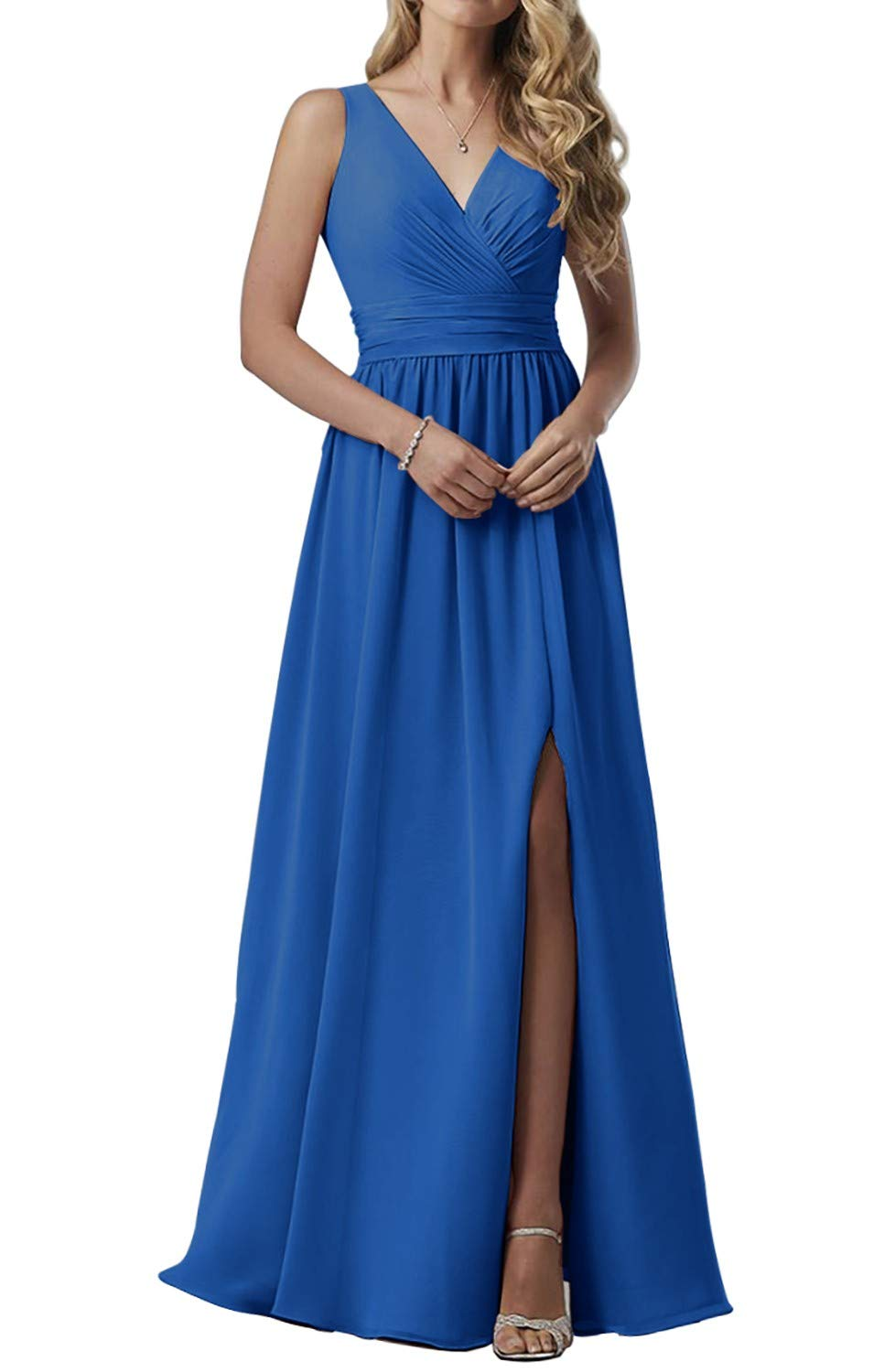 Women's Double V-Neck Bridesmaid Dresses Long Maxi Chiffon Ladies Prom Party Gown