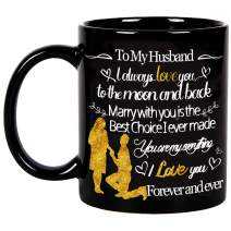 Fatbaby To My Husband Black Coffee Mug,Best Wedding Anniversary and Valentines Day Gifts for Husband Him,Husband Birthday Gift Mug from Wife 11 Ounce