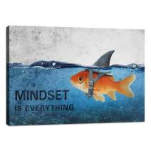 "Inspirational Canvas Wall Art Quotes Abstract Blue Goldfish Shark Pictures Posters Painting on Canvas Motivational Entrepreneur Artwork Bathroom Bedroom Office Decor Framed Ready to Hang - 12""Hx18""W"