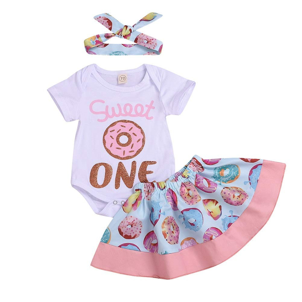 Baby Girls 1st Birthday Outfit Sweet ONE Print Romper+Donut Dress Skirt+ Baby Headband Summer 3PCS Clothes Set