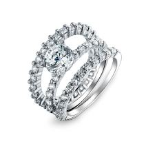 2CT Round Solitaire AAA CZ Pave Eternity Band Guard Enhancers Engagement 3Pcs Wedding Ring Set 925 Sterling Silver
