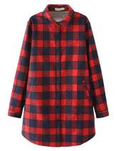 PUWEI Women's Winter Loose Sherpa Fleece Lined Long Flannel Plaid Shirts Jacket