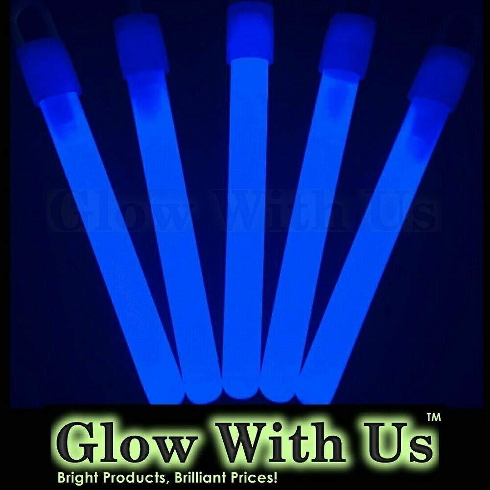 "Glow Sticks Bulk Wholesale, 50 4"" Blue Glow Stick Light Sticks. Bright Color, Kids Love Them! Glow 8-12 Hrs, 2-Year Shelf Life, Sturdy Packaging, GlowWithUs Brand…"