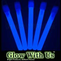 "Glow Sticks Bulk Wholesale, 50 4"" Blue Glow Stick Light Sticks. Bright Color, Kids Love Them! Glow 8-12 Hrs, 2-Year Shelf Life, Sturdy Packaging, GlowWithUs Brand…"