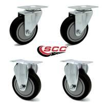 "Service Caster - 4"" x 1.25"" Black Polyurethane Wheels Caster Non-Marking Set of 4-2 Swivel/2 Rigid"