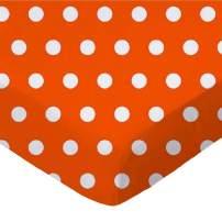 SheetWorld Fitted Portable / Mini Crib Sheet - Polka Dots Orange - Made In USA
