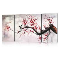 Yatsen Bridge Modern Chinese Style Cherry Blossom The Plum Blossom Tree Wall Art Picture 3pcs Paintings on Canvas for Living Room Home Decor Framed Stretched Gallery Canvas Wrap Artwork