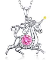 Birthday Gifts for Daughter Pink Tourmaline Jewelry Unicorn Necklace for Teen Girls Granddaughter Sterling Silver Animal Necklace