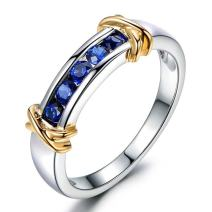 Unique Sapphire Gemstone 14K White and Yellow Gold Engagement Wedding Promise Ring Set for Women