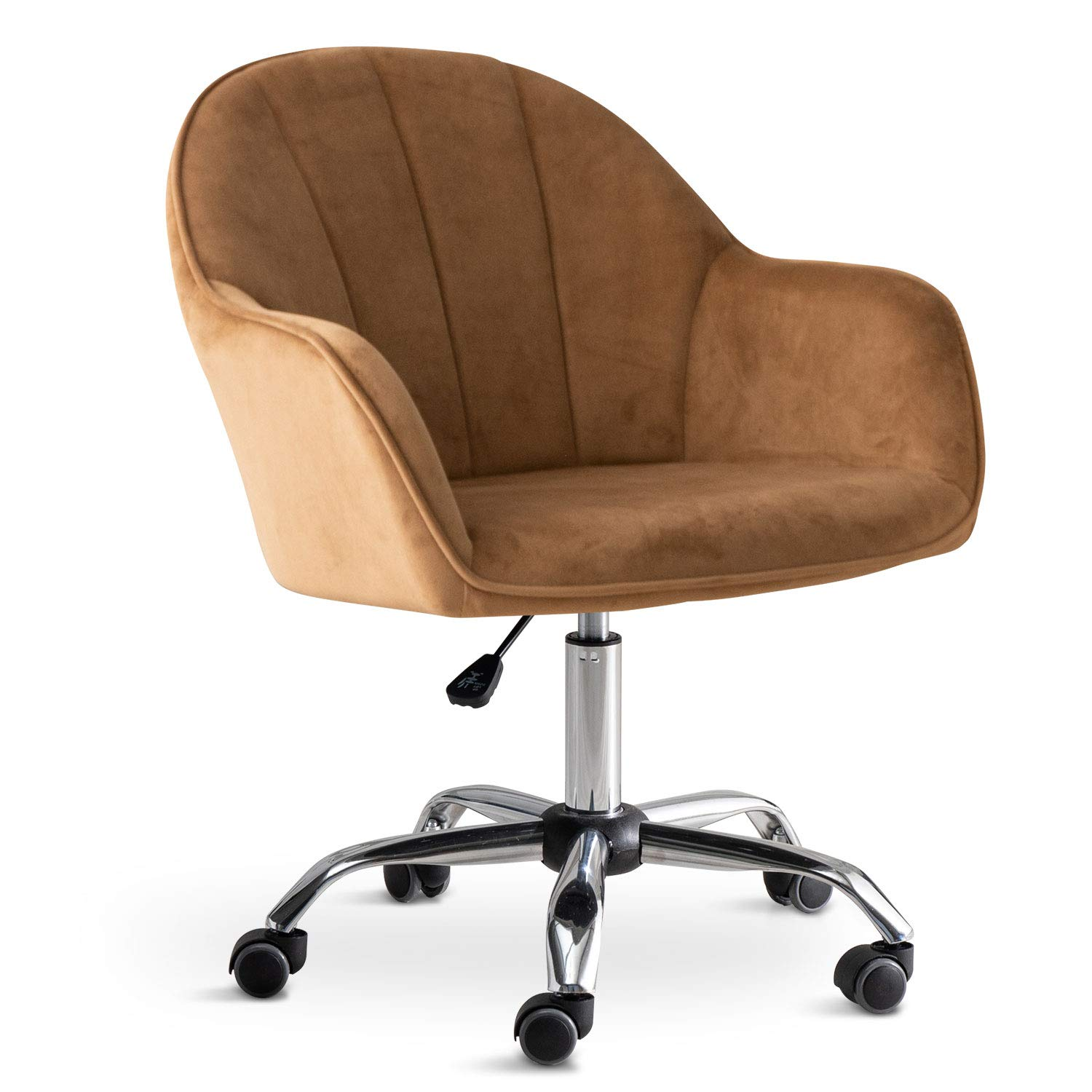 Modern Mid-Back Home Office Velvet Chair with Wheels, Ergonomic Executive Task Swivel Shell Vanity Chair with Arms, Adjustable Height for Study Room Living Room Bedroom and Makeup (Brown)