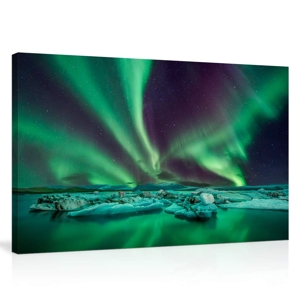 KALAWA Nature Landscape Aurora Borealis Artwork Painting Blue Green Northern Light Canvas Prints for Living Room Bathroom Wall Decoretion Framed Ready to Hang (16''W x 24''H, Northern Lights 08)