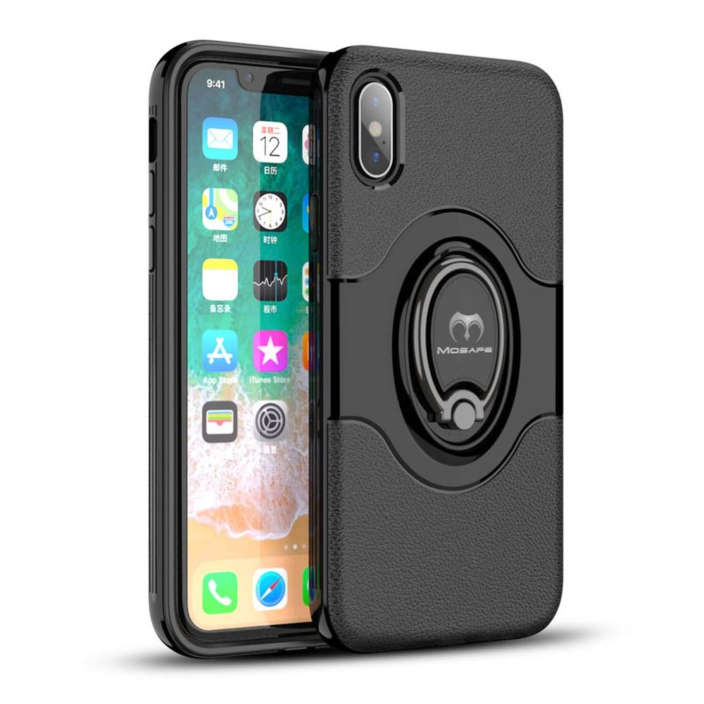 "Mosafe Case for iPhone Xs, 360° Rotating Finger Ring Holder Kickstand Shockproof Back Cover Working with Magnetic Car Mount (Black, for iPhone Xs (5.8"")"