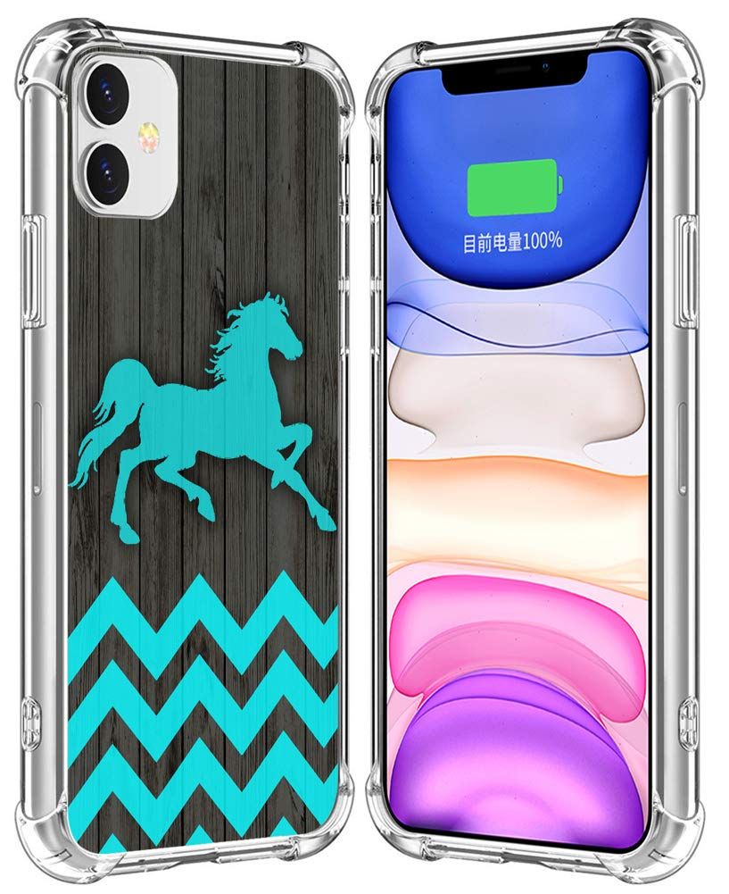 Case for iPhone 11 Horse/IWONE Designer Rubber Durable Protective Skin Transparent Clear Cover Shockproof Compatible for iPhone 11 Horse Chevron Animal