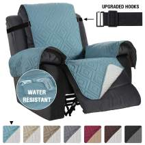 "Recliner Covers Recliner Chair Cover for Recliner Water Repellent Recliner Protector Cover for Dogs/Pets with Non Slip Elastic Strap, Quilted and Reversible (Sitting Width: 30"", Stone Blue/Beige)"