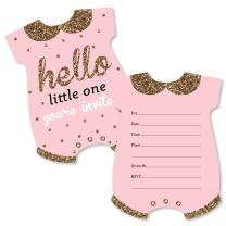 Hello Little One - Pink and Gold - Shaped Fill-in Invitations - Girl Baby Shower Invitation Cards with Envelopes - Set of 12