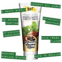 The Dirt All Natural Gluten & Fluoride Free Coconut & MCT Oil Toothpaste - Natural Teeth Whitening Botanically Sweetened, No Artificial Flavors or Colors | Cacao Mint, 6 Month Supply (3 Pack)