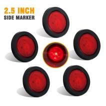 NOVALITE 5X 2.5'' Round Red Trailer LED Side Marker Lights, Sealed Grommet Flush Mount 4 LEDs Light with Reflective Lens, Truck RV Waterproof Universal 12V, DOT Certified