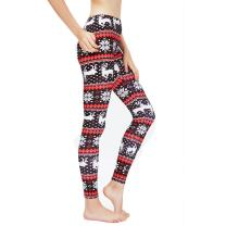 Ensasa Christmas Leggings for Women, Fleeced Lined Winter Leggings for Women in Snowflake Pattern, Plus Size Girl Pants