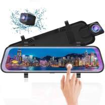 10 Inch Mirror Dash Cam Full Touch Screen, Poaeaon Backup Camera Stream Media, 1080P 170° Front and 1080P 150° Wide Angle Full HD Rear View Camera with G-Sensor, Night Vision