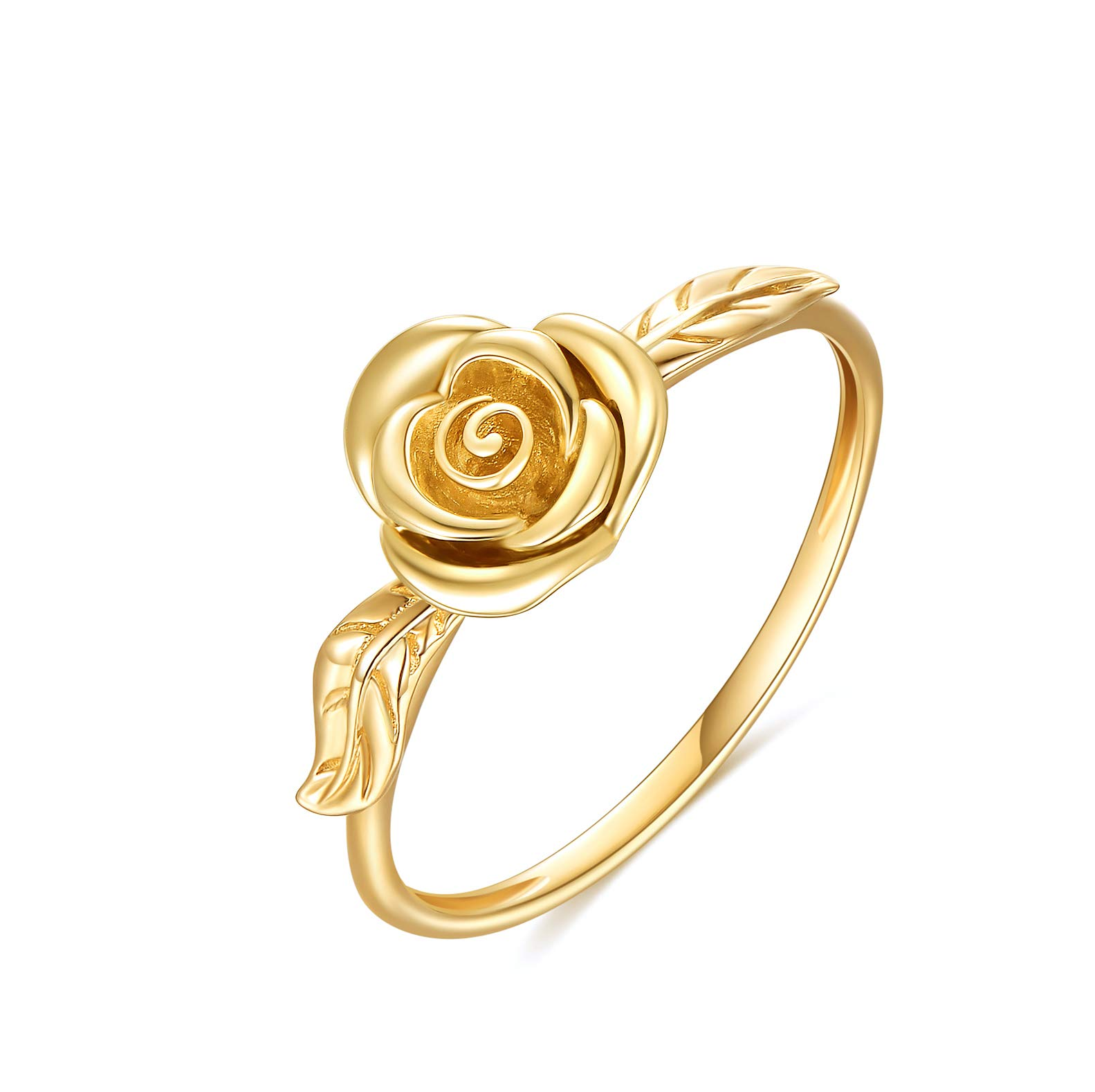 14K Gold Ring For Women, Yellow Gold Rose Flower Engagement Ring, Fine Jewelry Gifts for Wife, Girls on Wedding, Mother's Day, Birthday, Anniversary, Size 5 to 11