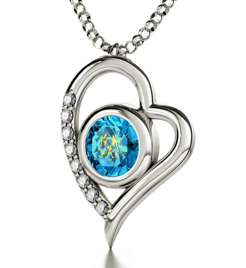 """925 Sterling Silver Gemini Heart Necklace Zodiac Pendant for Birthdays 21st May to 21st June 24k Gold Inscribed with Star Sign and Symbol on Swarovski Crystal Stone, 18"""" Chain"""
